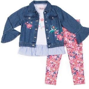 Little Lass Floral Heart Denim Jacket, Top & Pants